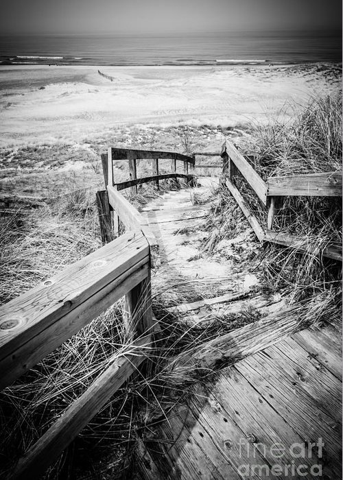 America Greeting Card featuring the photograph New Buffalo Michigan Boardwalk And Beach by Paul Velgos