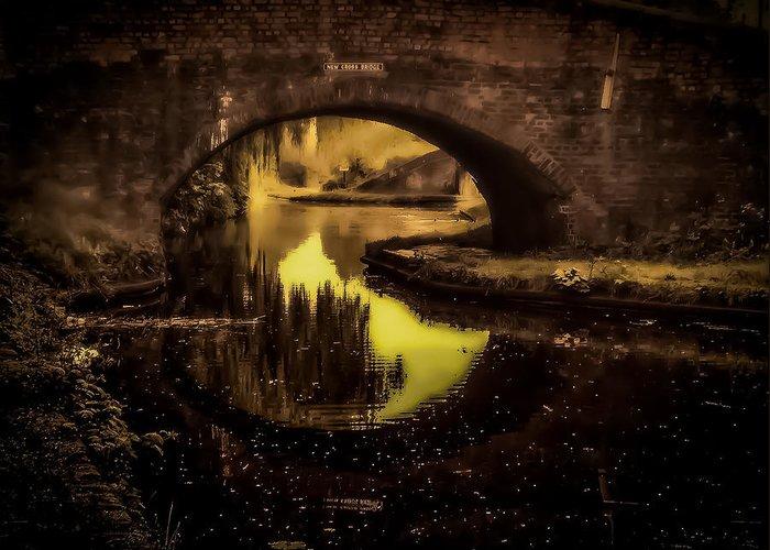 Golden Sight Greeting Card featuring the digital art New Cross Bridge by Lina Jordaan