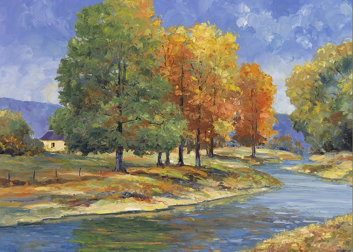 John Greeting Card featuring the painting New England Autumn by John Zaccheo