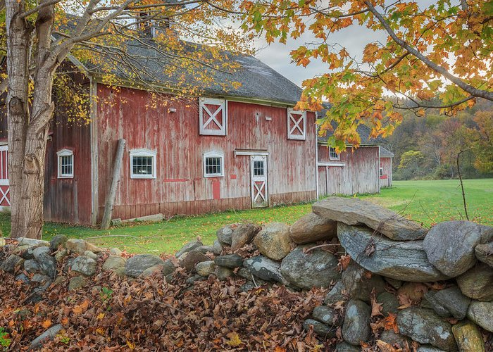 Vintage Greeting Card featuring the photograph New England Barn by Bill Wakeley