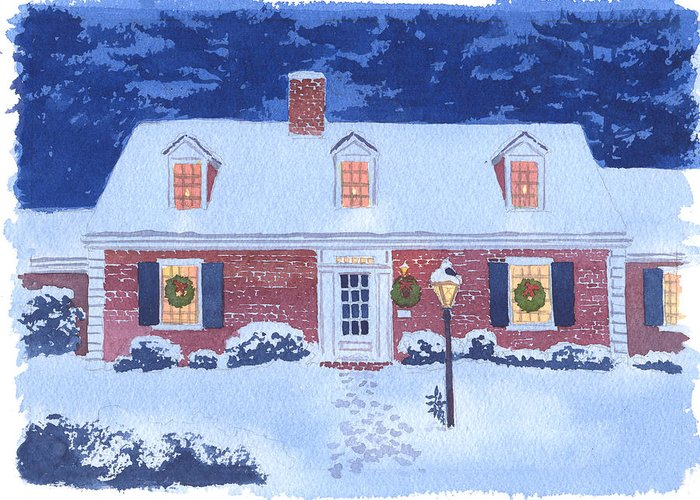 New England Snow Scene Greeting Cards