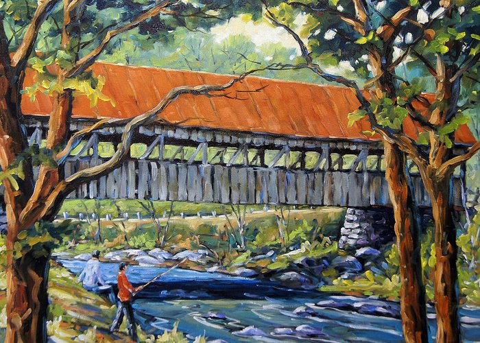 Landscape Greeting Card featuring the painting New England Covered Bridge By Prankearts by Richard T Pranke