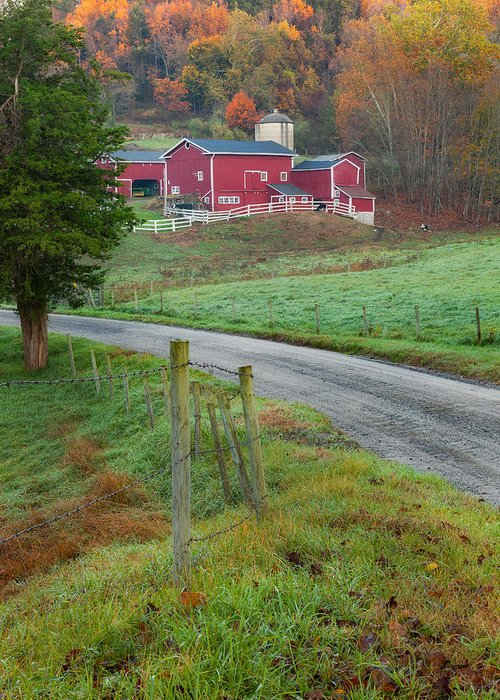 Old New England Greeting Card featuring the photograph New England Farm by Bill Wakeley