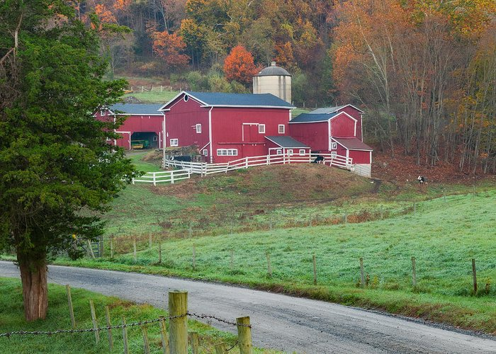 Farm Greeting Card featuring the photograph New England Farm Square by Bill Wakeley