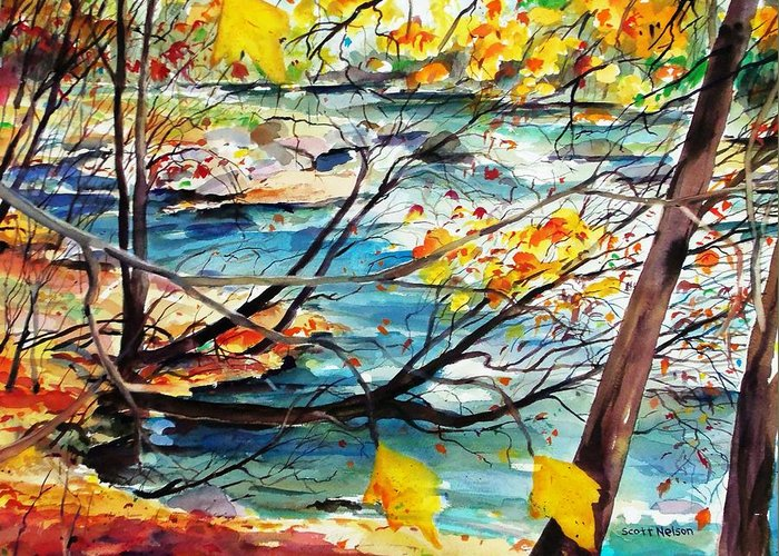 New England Greeting Card featuring the painting New England Leaves Along The River by Scott Nelson