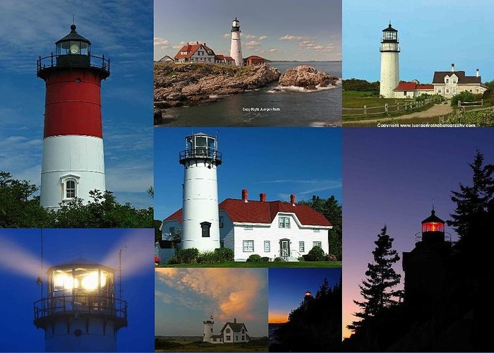 Lighthouse Greeting Card featuring the photograph New England Lighthouse Collection by Juergen Roth