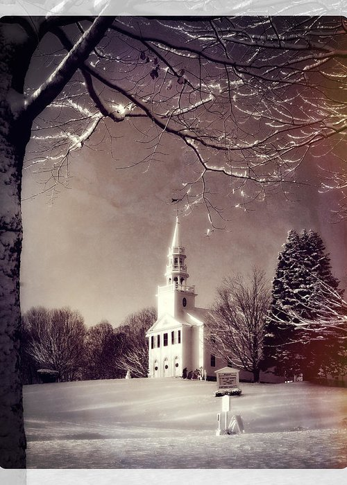 Snow Greeting Card featuring the photograph New England Winter Village Scene by Thomas Schoeller