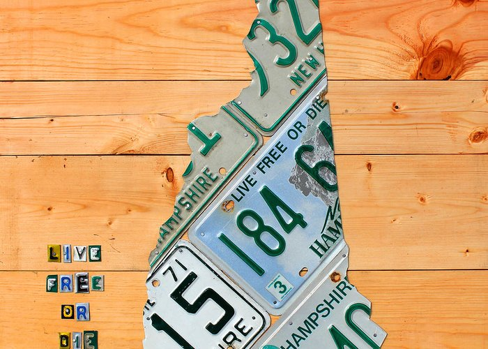 New Greeting Card featuring the mixed media New Hampshire License Plate Map Live Free Or Die Old Man Of The Mountain by Design Turnpike