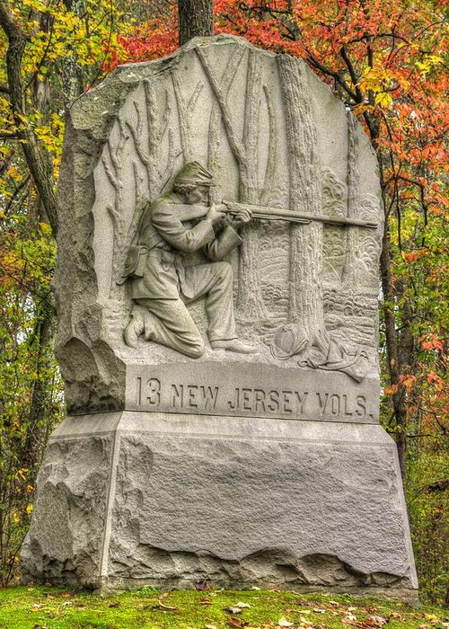Civil War Greeting Card featuring the photograph New Jersey At Gettysburg - 13th Nj Volunteer Infantry Near Culps Hill Autumn by Michael Mazaika