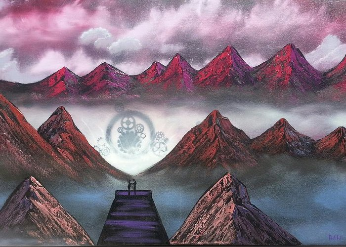 Mountains Mystery Purple Pier Doc Couple Love Romance Gears Greeting Card featuring the painting New Life by Jody Poehl