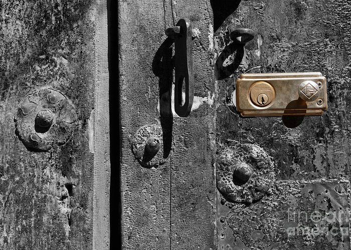 Still Life Greeting Card featuring the photograph New Lock On Old Door 2 by James Brunker