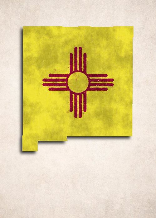 America Greeting Card featuring the digital art New Mexico Map Art With Flag Design by World Art Prints And Designs
