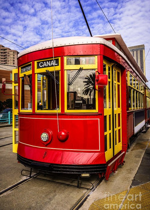 America Greeting Card featuring the photograph New Orleans Streetcar by Paul Velgos