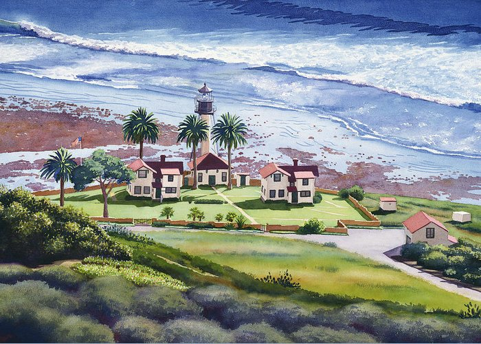New Point Loma Lighthouse Greeting Card featuring the painting New Point Loma Lighthouse by Mary Helmreich