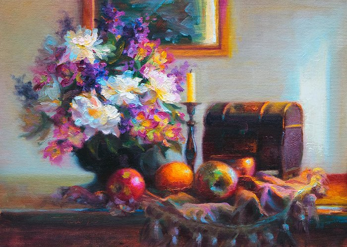 Colorful Greeting Card featuring the painting New Reflections by Talya Johnson