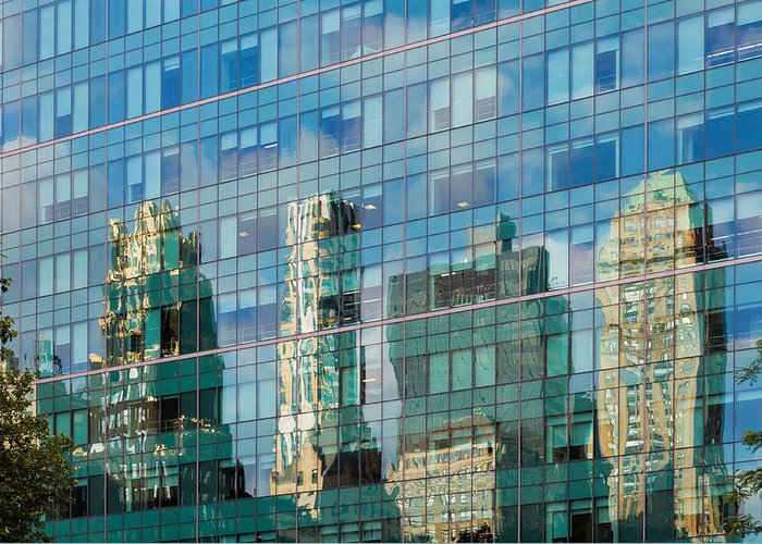 Bryant Park Manhattan New York City Reflection Architecture Windows Greeting Card featuring the photograph New Reflects Old by John Maciel