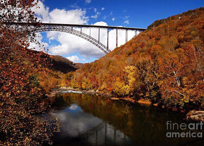 Photography Greeting Card featuring the photograph New River Gorge Bridge In Autumn by Larry Ricker