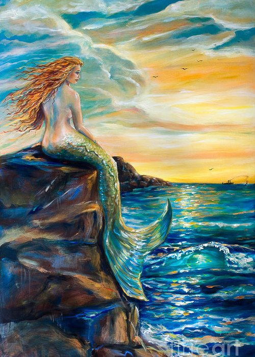 Mermaid Greeting Card featuring the painting New Smyrna Inlet by Linda Olsen