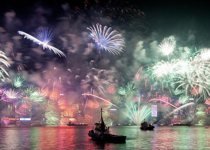 Firework Display Greeting Card featuring the photograph New Year Fireworks Hong Kong Asia by Steffen Schnur