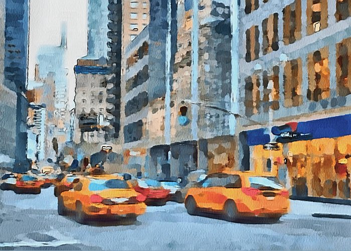 New Greeting Card featuring the digital art New York 2 by Yury Malkov