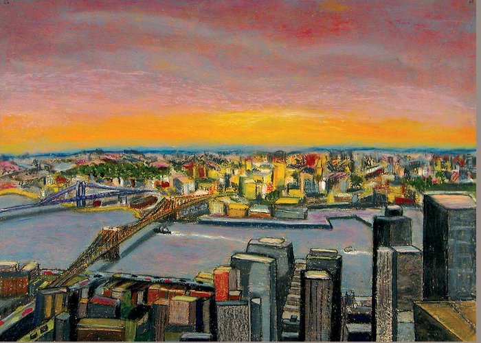 Cityscape Greeting Card featuring the painting New York 38 by Karin Batten