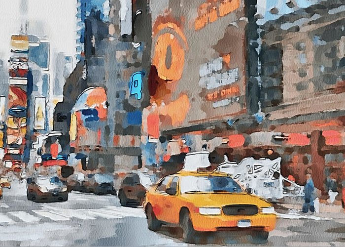 New Greeting Card featuring the digital art New York 6 by Yury Malkov