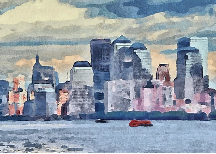 New Greeting Card featuring the digital art New York 7 by Yury Malkov