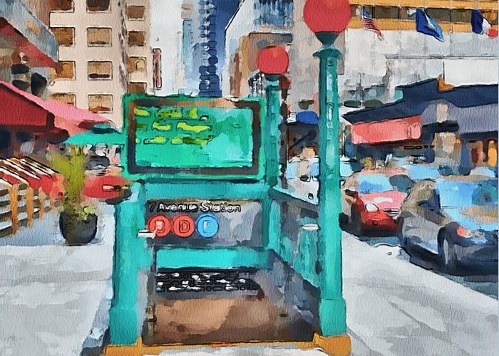 New Greeting Card featuring the digital art New York 8 by Yury Malkov