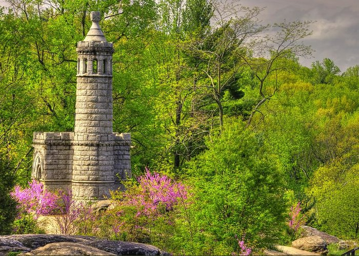 Civil War Greeting Card featuring the photograph New York At Gettysburg - Monument To 12th / 44th Ny Infantry Regiments-1a Little Round Top Spring by Michael Mazaika