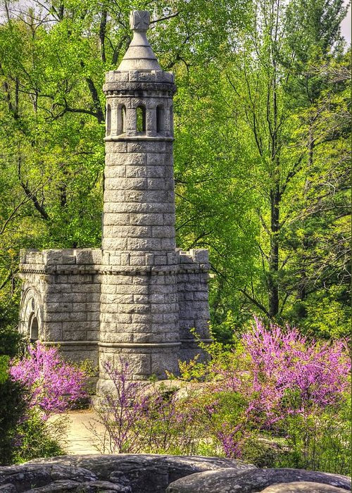 Civil War Greeting Card featuring the photograph New York At Gettysburg - Monument To 12th / 44th Ny Infantry Regiments-2a Little Round Top Spring by Michael Mazaika