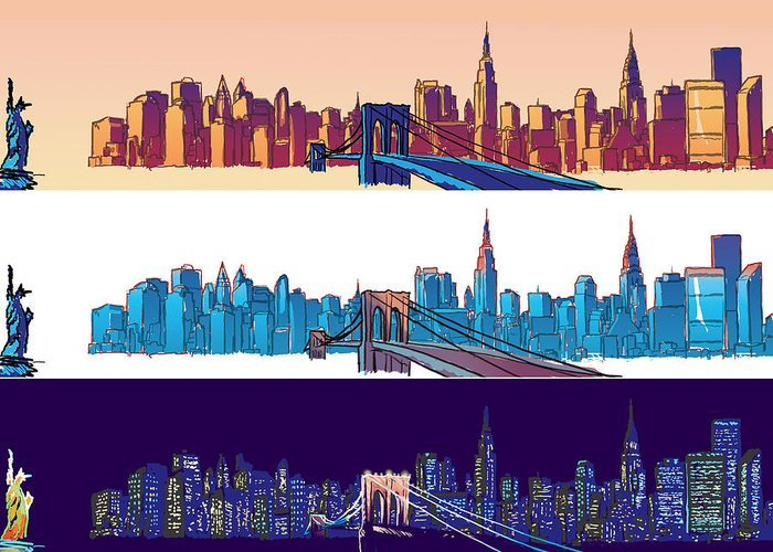 Ny Greeting Card featuring the digital art New York City - All Day by Sam Shacked