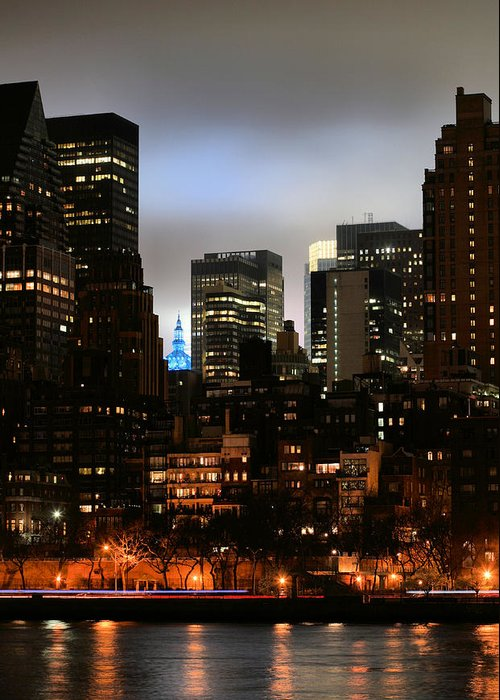 New York City Blue Greeting Card featuring the photograph New York City Blue by JC Findley