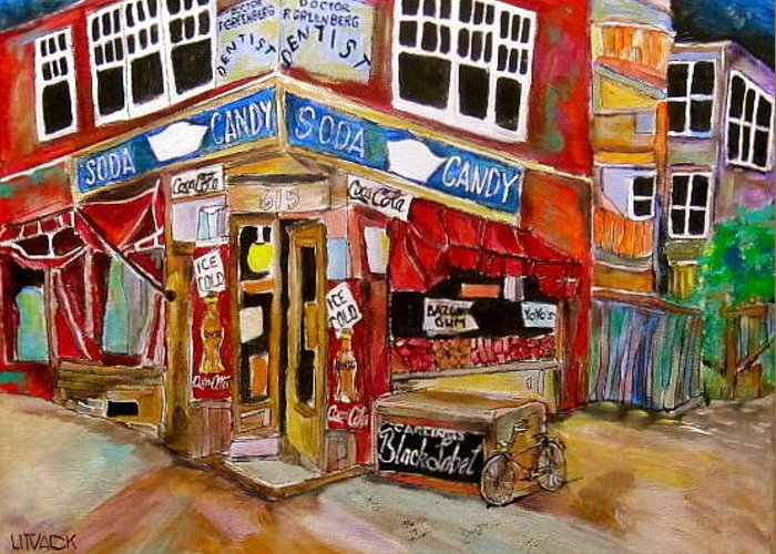 New York City Greeting Card featuring the painting New York City Candy Store by Michael Litvack
