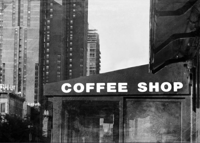 New york city coffee shop in black and white greeting card for sale coffee greeting card featuring the photograph new york city coffee shop in black and white by m4hsunfo