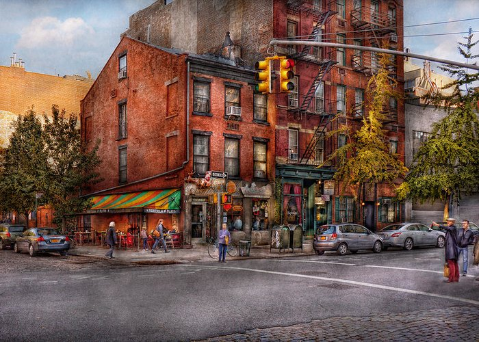 New York Greeting Card featuring the photograph New York - City - Corner Of One Way And This Way by Mike Savad