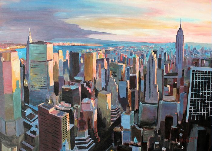 New York City Greeting Card featuring the painting New York City - Manhattan Skyline In Warm Sunlight by M Bleichner
