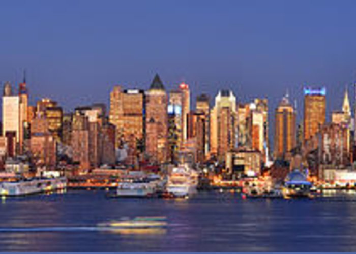 New York City Skyline At Dusk Greeting Card featuring the photograph New York City Midtown Manhattan At Dusk by Jon Holiday