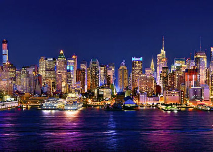 New York City Skyline At Night Greeting Card featuring the photograph New York City Nyc Midtown Manhattan At Night by Jon Holiday