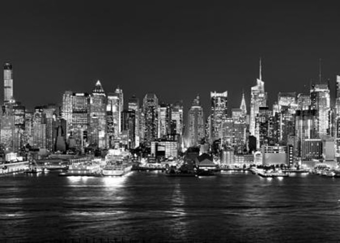 New York City Skyline At Night Greeting Card featuring the photograph New York City Nyc Skyline Midtown Manhattan At Night Black And White by Jon Holiday