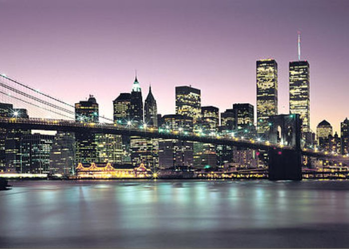 New York City Skyline Greeting Card featuring the photograph New York City Skyline by Jon Neidert