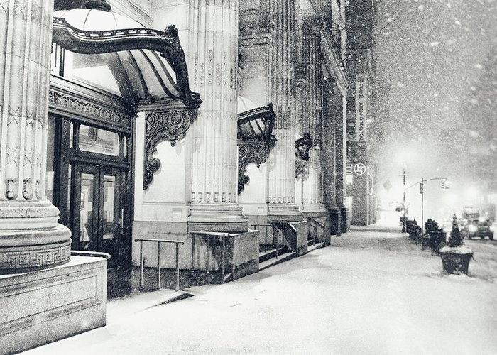 New York City Greeting Card featuring the photograph New York City - Snowy Winter Night by Vivienne Gucwa