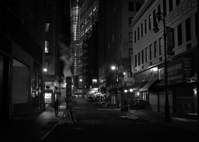 New York City Greeting Card featuring the photograph New York City Street - Night by Vivienne Gucwa