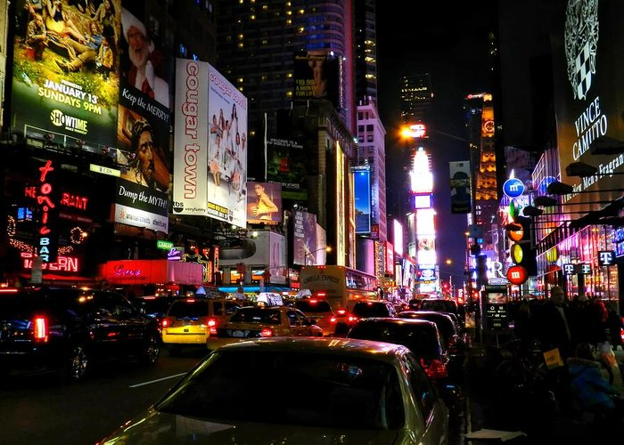 New York Ny Greeting Card featuring the photograph New York City - Times Square 002 by Lance Vaughn