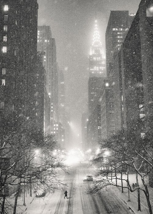 Nyc Greeting Card featuring the photograph New York City - Winter Night Overlooking the Chrysler Building by Vivienne Gucwa