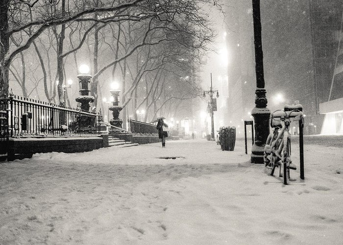 Nyc Greeting Card featuring the photograph New York City Winter Night by Vivienne Gucwa