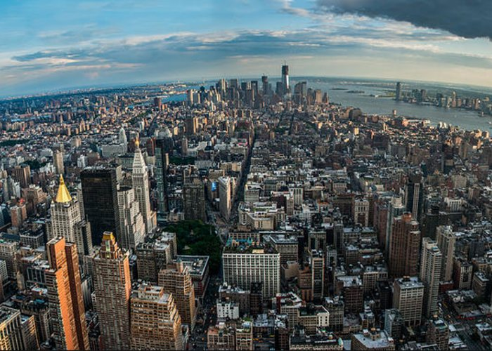 Manhatten Greeting Card featuring the photograph New York From A Birds Eyes - Fisheye by Hannes Cmarits