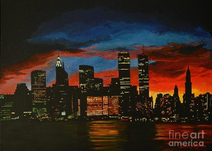 Landscape Greeting Card featuring the painting New York In Glory Days by Denisa Laura Doltu