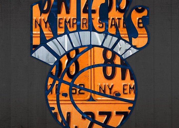 Knicks Mixed Media Greeting Cards