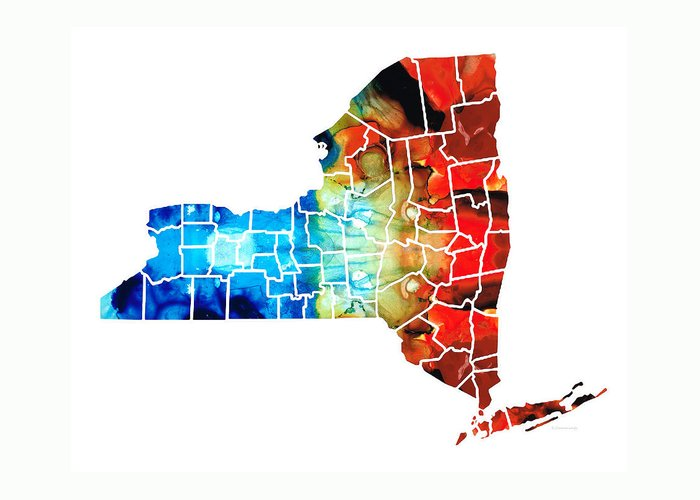New York Map Greeting Card featuring the painting New York - Map By Sharon Cummings by Sharon Cummings