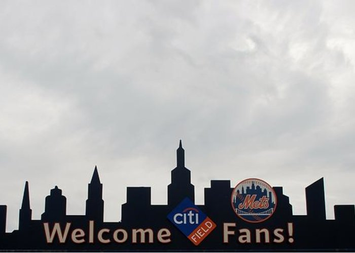 Shea Stadium Greeting Card featuring the photograph New York Mets Skyline by Rob Hans
